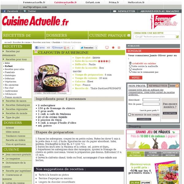 Clafoutis d'aubergine : recettes de Clafoutis d'aubergine