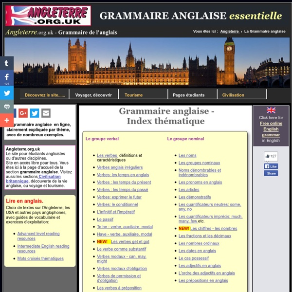 Grammaire anglaise clairement expliquée - Angleterre.org.uk