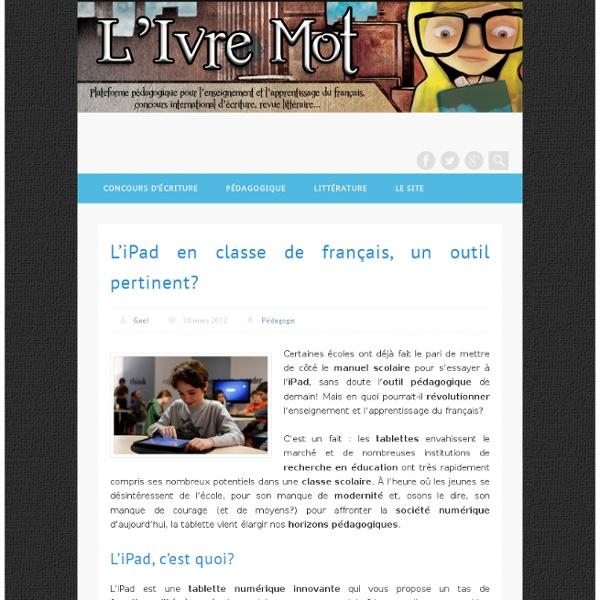L'iPad en classe de français, un outil pertinent?
