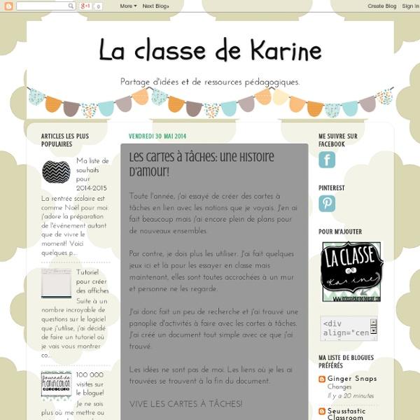 La classe de Karine: Les cartes à tâches: une histoire d'amour!