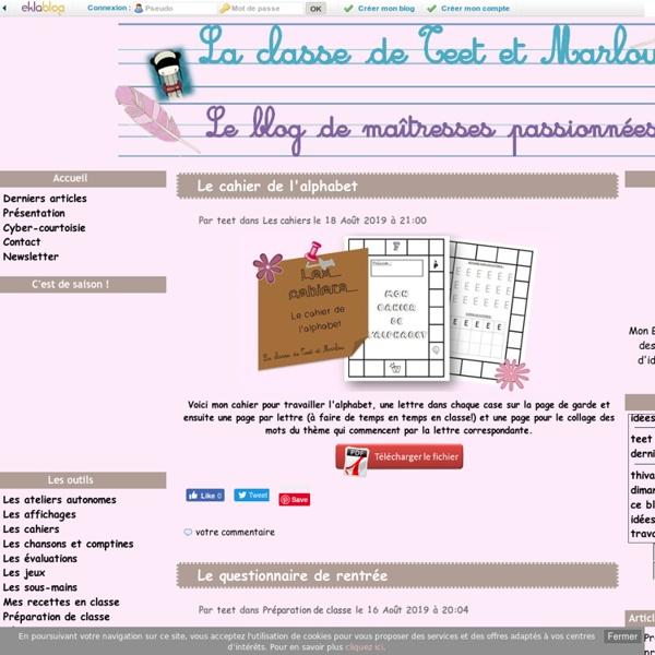 La maternelle de Teet et Marlou - Le blog de maîtresses passionnées