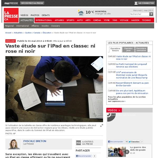 Vaste étude sur l'iPad en classe: ni rose ni noir