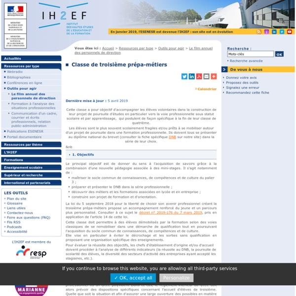"""Classe de troisième préparatoire aux formations professionnelles (3e """"prépa pro"""")"""