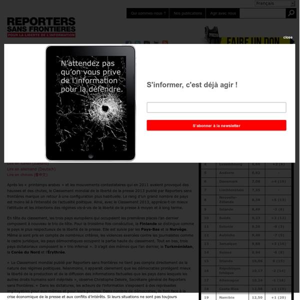 Classement mondial de la liberté de la presse en 2013