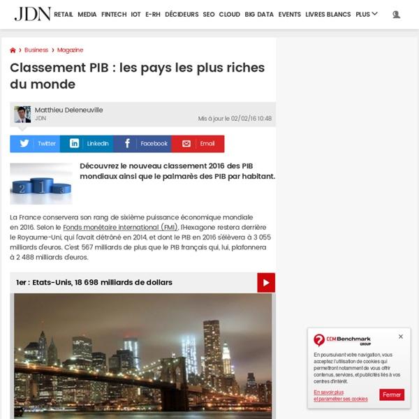Classement Pib Les Pays Les Plus Riches Du Monde Pearltrees