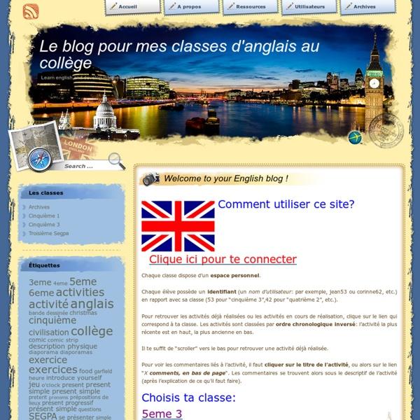 Le blog pour mes classes d'anglais au collège
