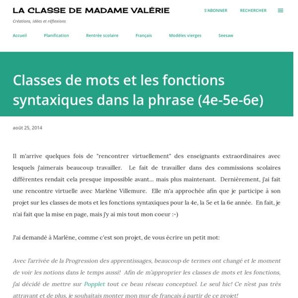 Classes de mots et les fonctions syntaxiques dans la phrase (4e-5e-6e)