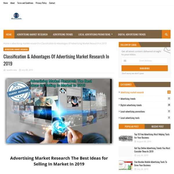 Classification & Advantages Of Advertising Market Research In 2019