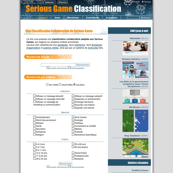 La classification en ligne du Serious Game
