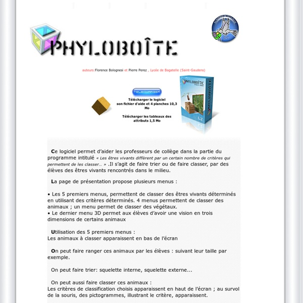 Phyloboite logiciel gratuit de classification phylogénétique auteur Pierre Perez
