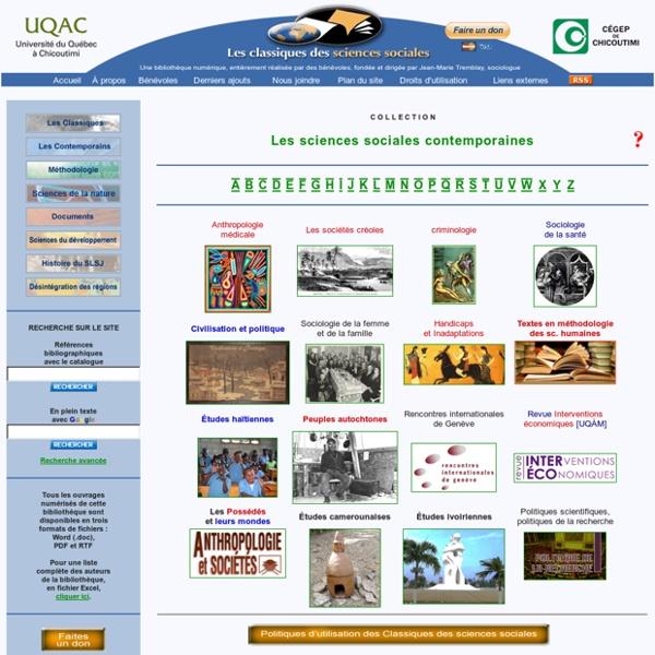 Les Classiques des sciences sociales: collection les sciences sociales contemporaines