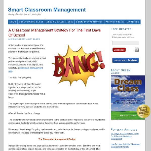 A Classroom Management Strategy For The First Days Of School