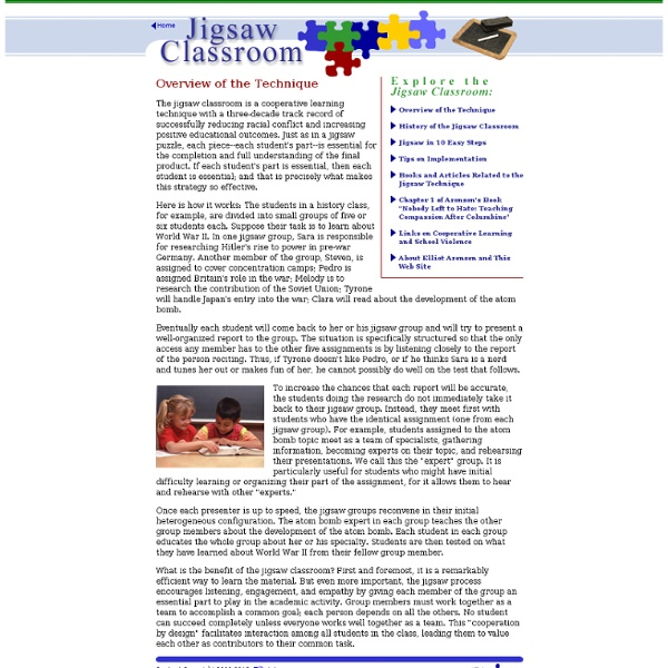 The Jigsaw Classroom: Overview of the Technique
