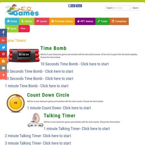ESL Classroom Fun Teaching Tools - Game Count Down timers