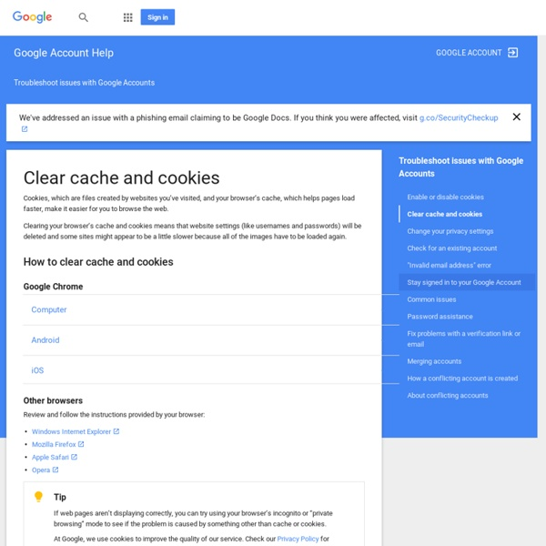 Clear cache and cookies - Google Account Help