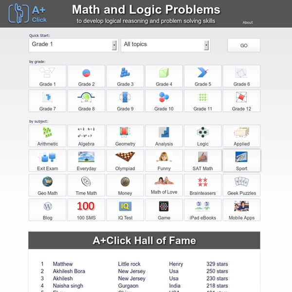 A+ Click Math Problems and Logic Puzzles for Grade K-1 K-12