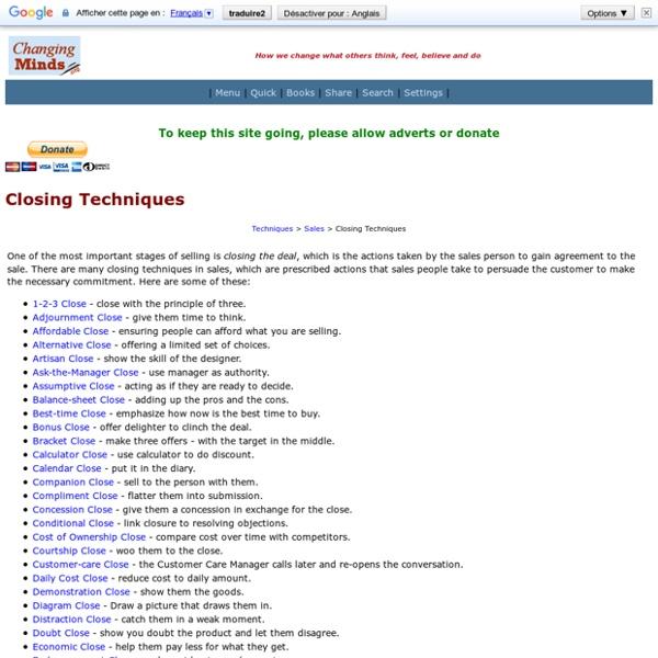 Closing techniques
