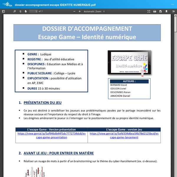 Dossier d'accompagnement - Escape game : identité numérique
