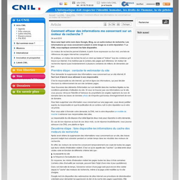 Comment effacer des informations me concernant sur un moteur de recherche ? - CNIL - Commission nationale de l'informatique et des libert?s