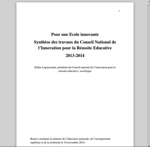 Pour une école innovante RAPPORT CNIRE