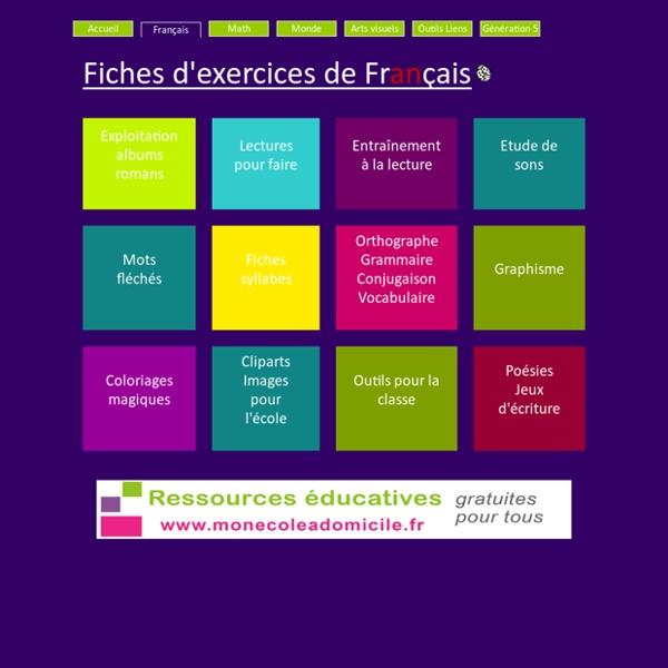 Francais GS CP CE1 - Fiches exercices Les Coccinelles : Lecture - Album - Vocabulaire - Orthographe - Grammaire - Son - Syllabe - Poésie - Graphisme