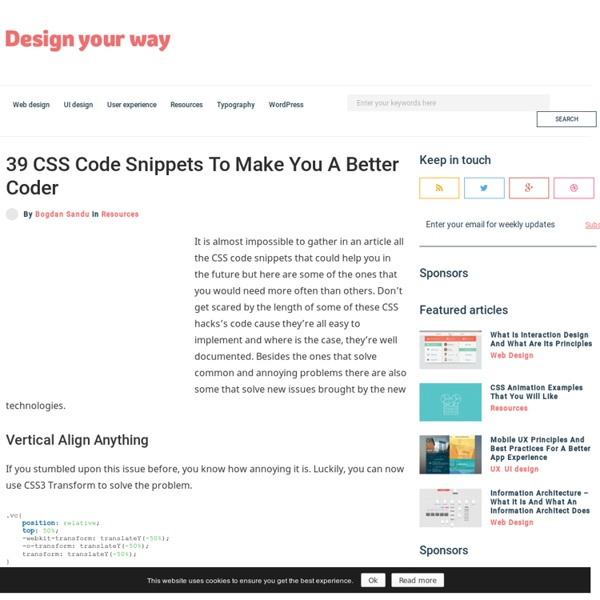 31 CSS Code Snippets To Make You A Better Coder