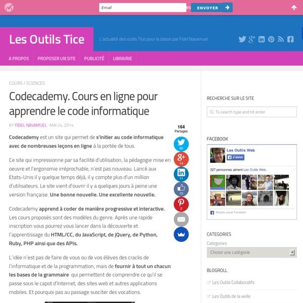 Codecademy. Cours en ligne pour apprendre le code informatique