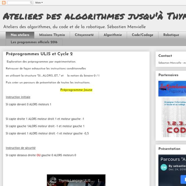 Coder : des algorithmes à Thymio