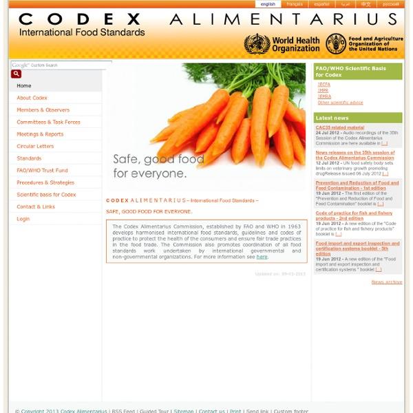CODEX ALIMENTARIUS – Au sommaire pour 2011 : ALINORM REP11/FFP Comité du Codex sur les poissons et les produits de la pêche