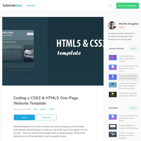 Coding A Css3 Html5 One Page Website Template Pearltrees