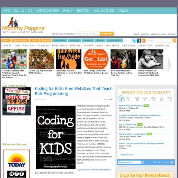 Coding for Kids: Free Websites That Teach Kids Programming - Scratch, Code.org, Stencyl, Khan Academy, CodeAcademy, Hackety Hack, Code Monster, CodeAcademy