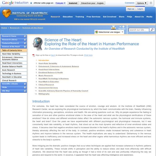 La science du cœur, de la science de la cohérence, la variabilité de la fréquence cardiaque, Institut HeartMath