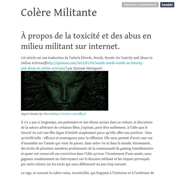 Colère Militante — À propos de la toxicité et des abus en milieu...