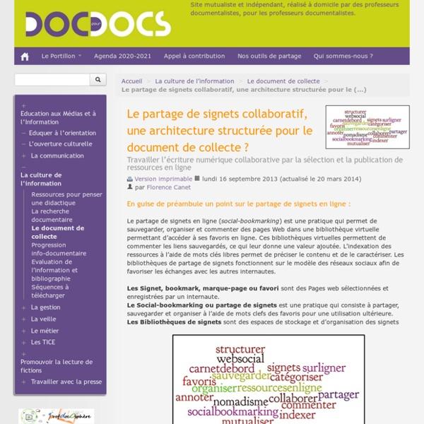 Le partage de signets collaboratif, une architecture structurée pour le document de collecte ?