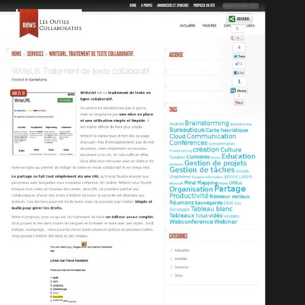 WriteUrl. Traitement de texte collaboratif
