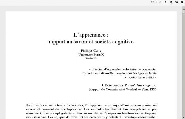 L'apprenance : rapport au savoir et société cognitive