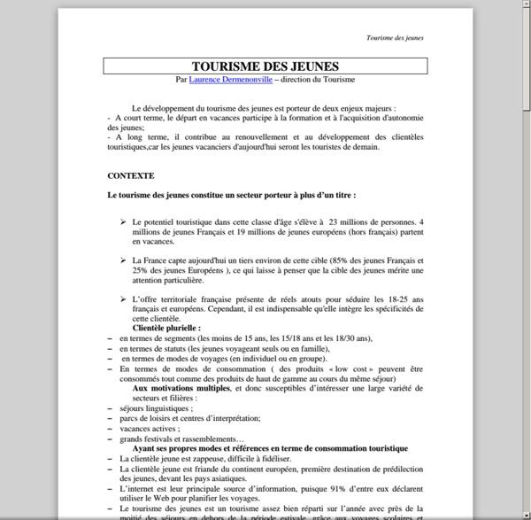 Microsoft Word - TOURISME DES JEUNES1.doc - com.univ.collaboratif.utils.LectureFichiergw