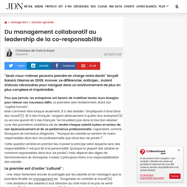 Du management collaboratif au leadership de la co-responsabilité