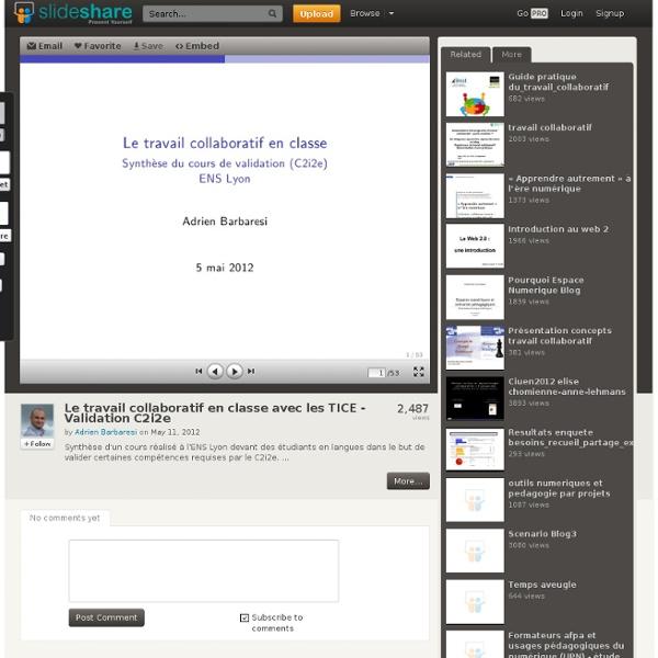 Le travail collaboratif en classe avec les TICE - Validation C2i2e