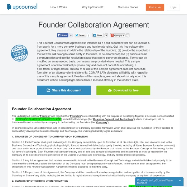Founder Collaboration Agreement Free Download On Upcounsel