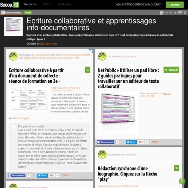 Ecriture collaborative et apprentissages info-documentaires
