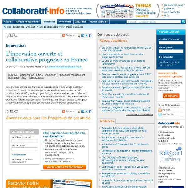 L'innovation ouverte et collaborative progresse en France