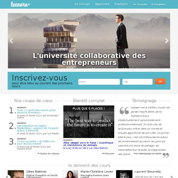Leeaarn, l'université collaborative des entrepreneurs