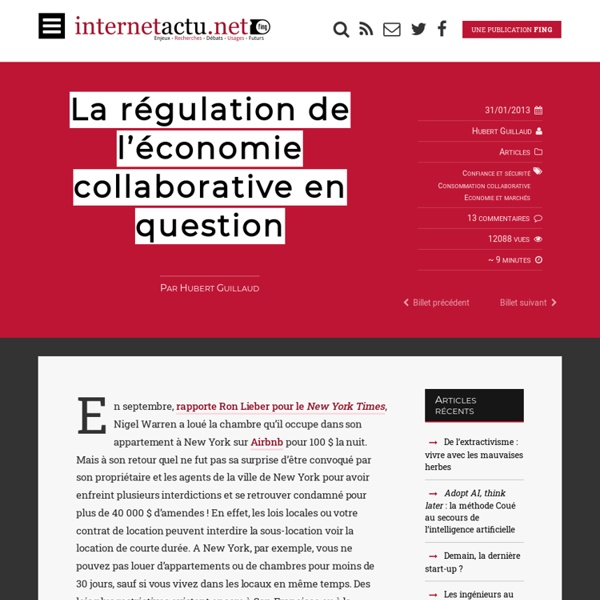 La régulation de l'économie collaborative en question