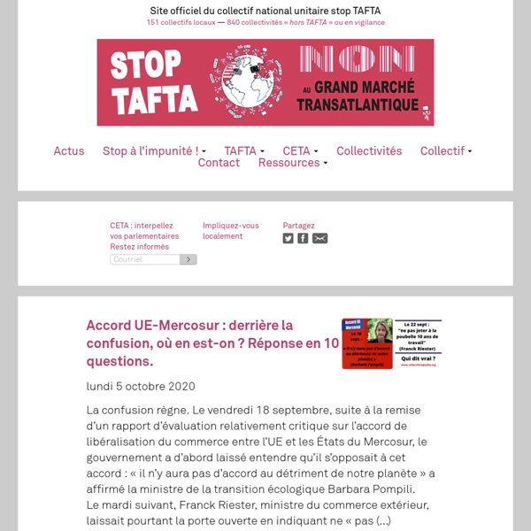 Collectif Stop TAFTA - Non au Grand Marché Transatlantique - Site officiel du collectif national unitaire stop TAFTA