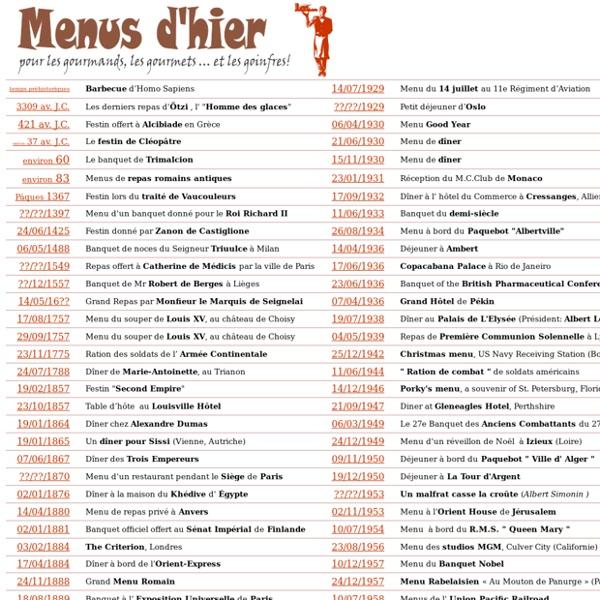 """"""" Menus d'hier """" collection de menus de toutes époques classés par ordre chronologique. Pour les gourmets, les gourmands et les goinfres, par Thierry Pagnier"""