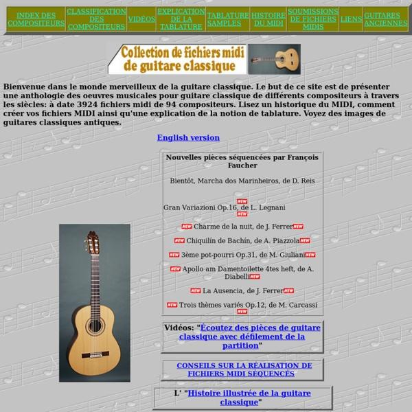 Collection de fichiers midi de guitare classique