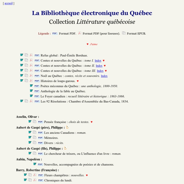 Collection Littérature québécoise