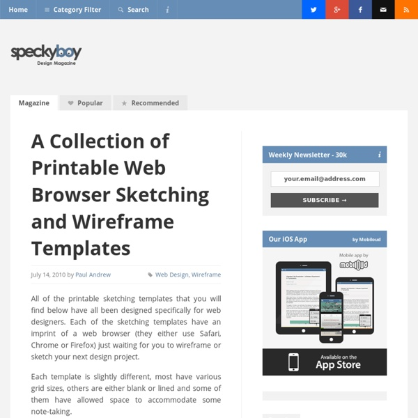 A Collection of Printable Web Browser Sketching and Wireframe Templates