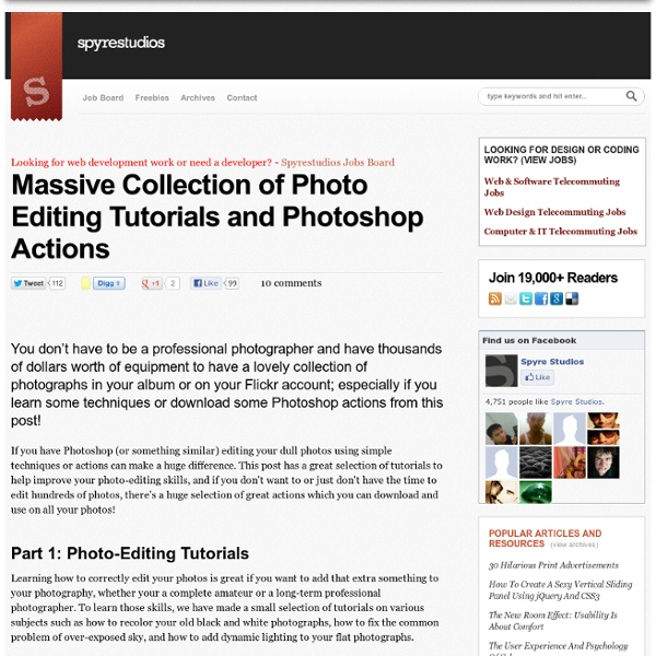 Massive Collection of Photo Editing Tutorials and Photoshop Actions